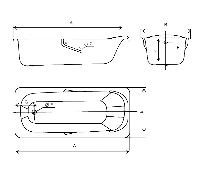 Steel enamel bathtub YX-3001