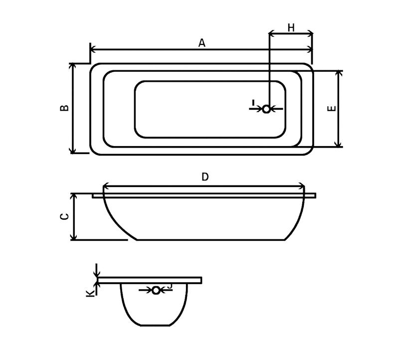 Steel enamel bathtub YX-3002