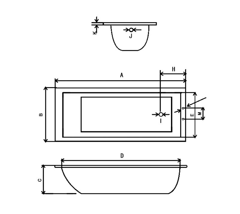 Steel enamel bathtub YX-3004