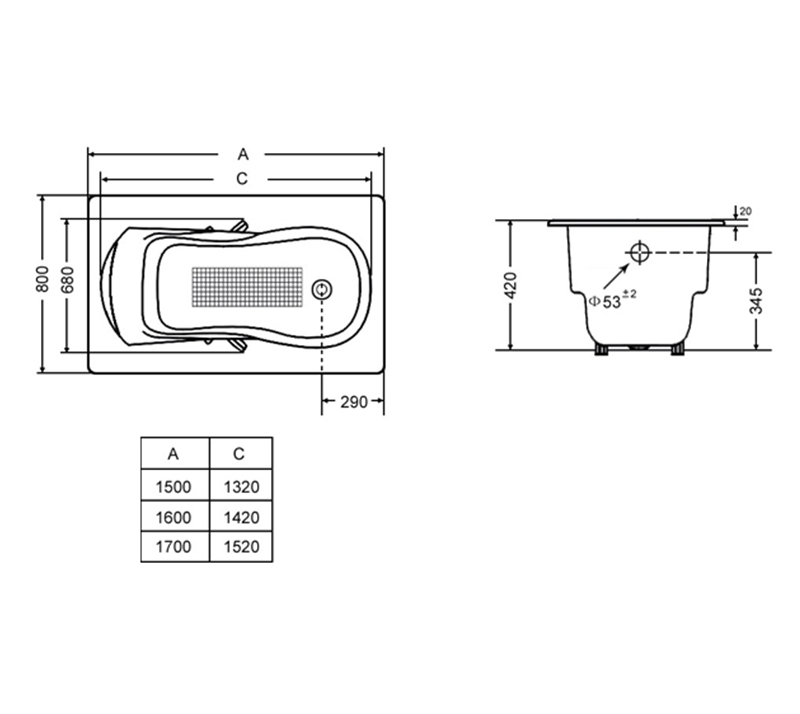 Casting pillow Drop In Cast Iron Bathtub YX-110 1700×800×420mm