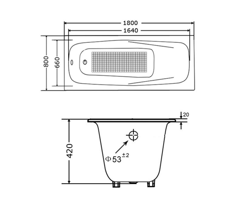 Drop In Cast Iron Bathtub YX-119