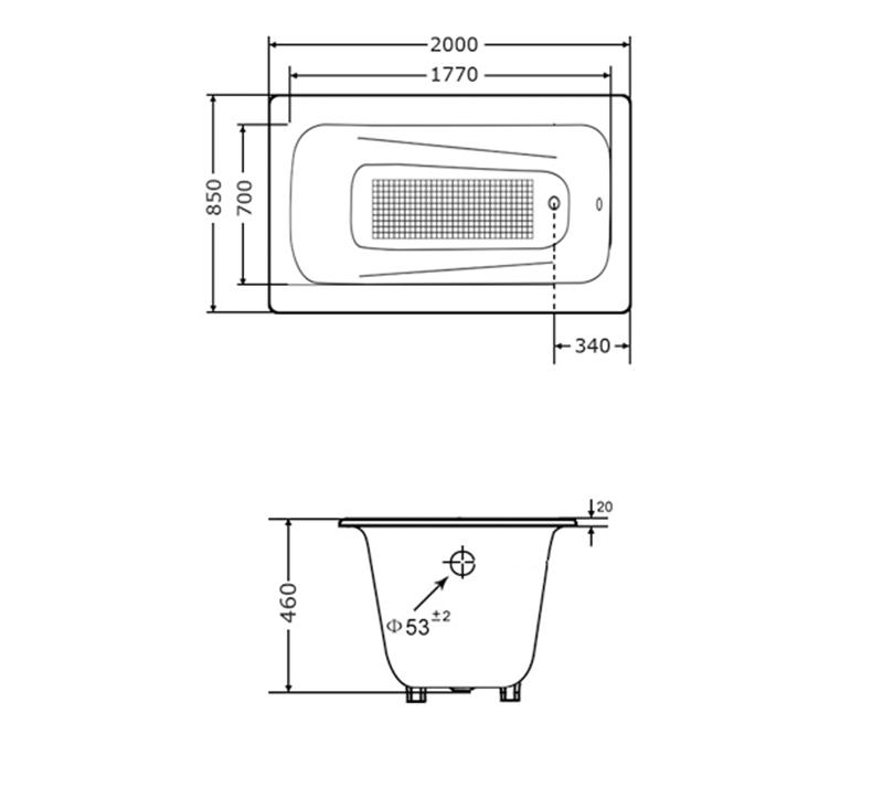Drop In Cast Iron Bathtub YX-120