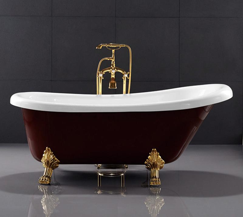 67 Inch PMMA Acrylic Free Standing Bathtub Clawfoot Soaking Tub Dark Red Color YX-721C