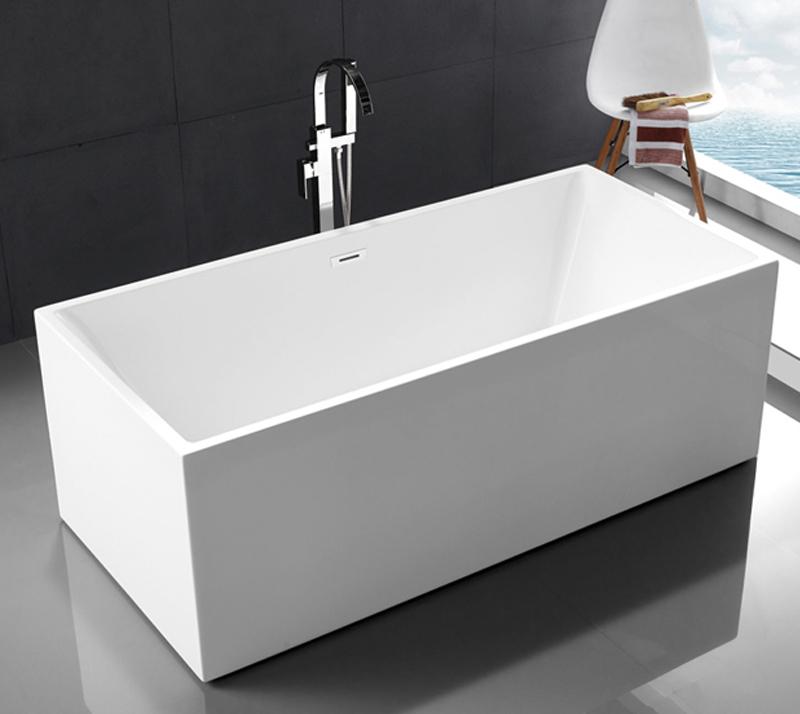 Seamless PMMA Acrylic Free Standing Bathtub Portable High Water Capacity YX-737B
